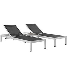 McKinley Outdoor Patio 3 Piece Single Chaise and Table Set (Set of 3)
