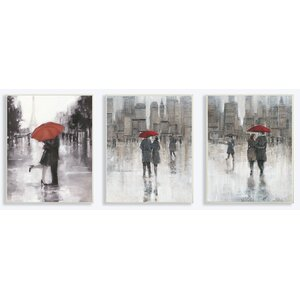 Rain in the City Couple with Red Umbrella Trio 3 Piece Painting Print Wall Plaque Set by Stupell Industries