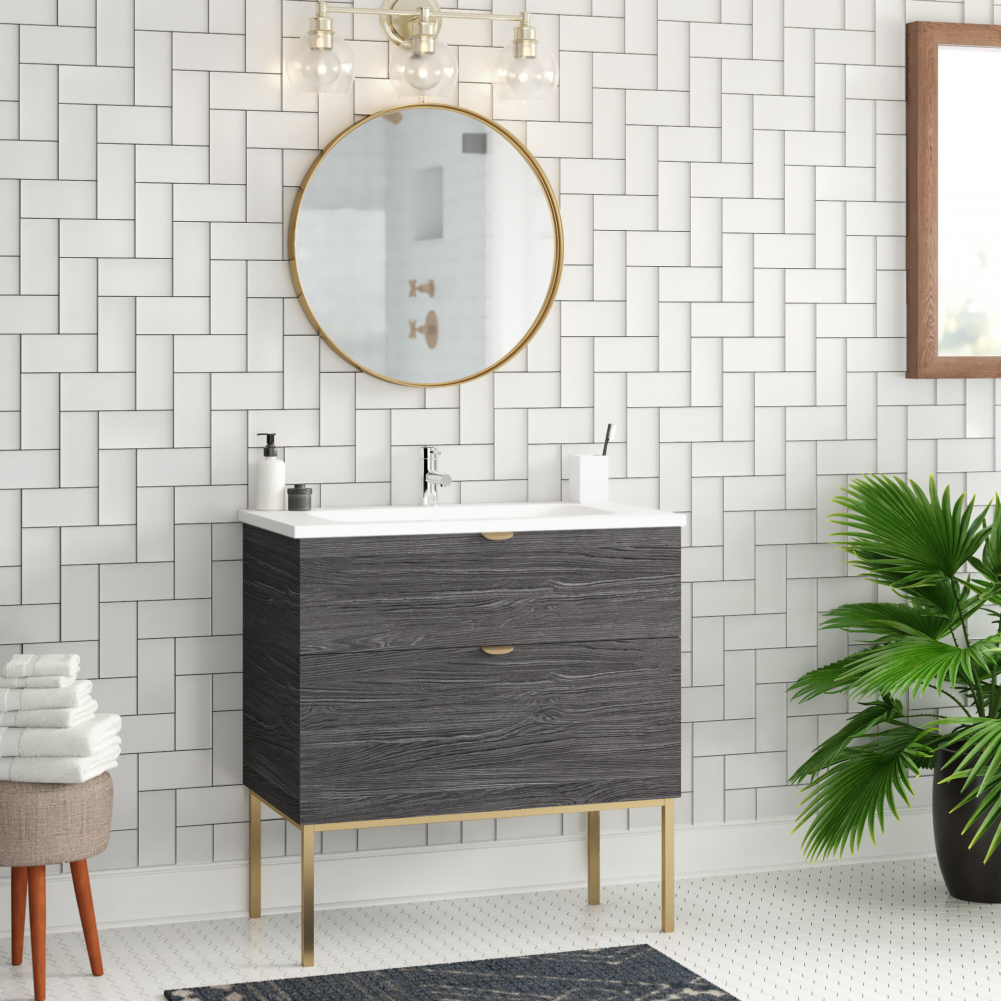 Wonline 24 Black Modern Bathroom Vanity With Shelf Adjustable Feet Vessel Sink Faucet Mirror Combo