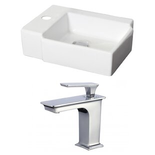 Reviews Ceramic 17 Wall Mount Bathroom Sink with Faucet and Overflow ByAmerican Imaginations