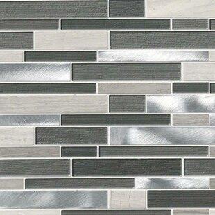 Urban Loft Interlocking Pattern Random Sized Gl Stone Metal Tile In Gray