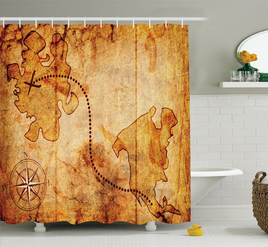 Compass Treasure Map Shower Curtain Set