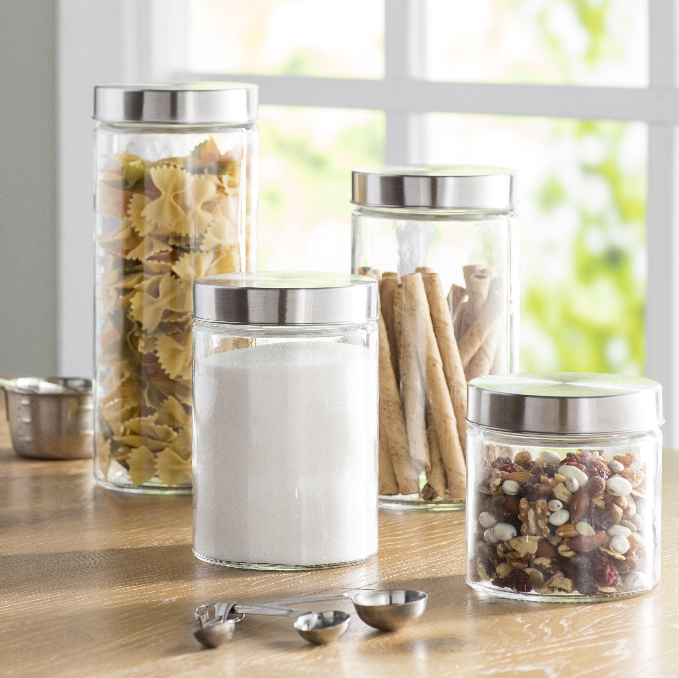 Wayfair Basics 4 Piece Round Top Gl Kitchen Canister Set Reviews
