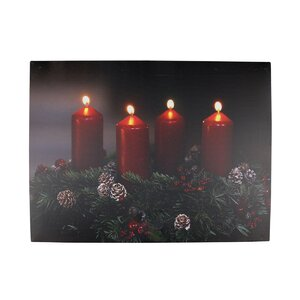 '4 LED Lighted Holiday Candle Scene' Photographic Print on Canvas