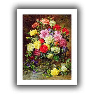 Carnations of Radiant Colours' by Albert Williams  Painting Print on Rolled Canvas by ArtWall