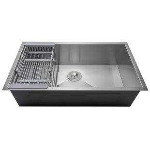 32 x 18 Undermount Stainless Steel Single Bowl Kitchen Sink w/ Adjustable Tray and Drain Strainer Kit ByAKDY