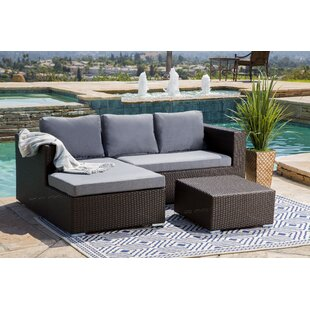 Battista Outdoor Wicker Patio Sectional Set With Cushions Espresso Grey