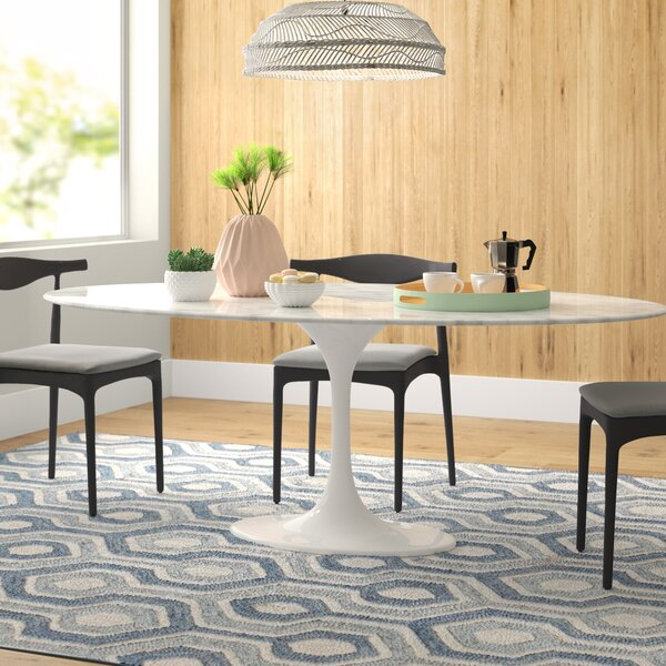 Larkson Carrera Marble Oval Dining Table