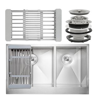 33 x 20 Farmhouse Apron Stainless Steel Double Bowl 60/40 Kitchen Sink w/ Adjustable Tray and Drain Strainer Kit ByAKDY