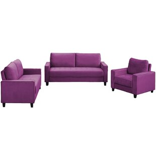 Modern Velvet 3 Piece Living Room Sofa Set For Home Or Office With Armchair, Loveseat And 3-Seater Couch, Purple by Ebern Designs