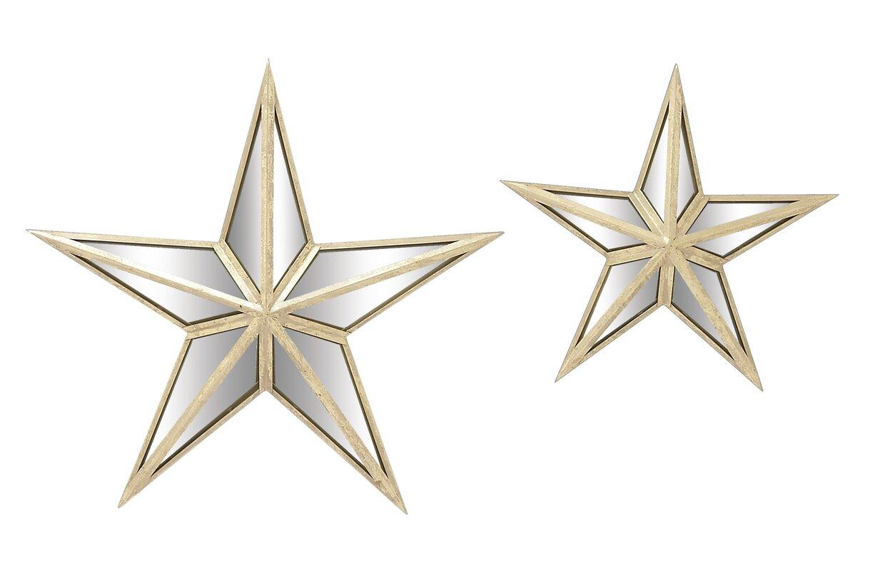 Wall Mirror Set woodland imports 2 piece star wall mirror set & reviews | wayfair