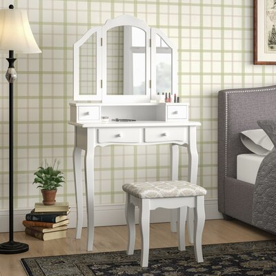 Lizbeth Solid Wood Vanity Set with Mirror Color: White