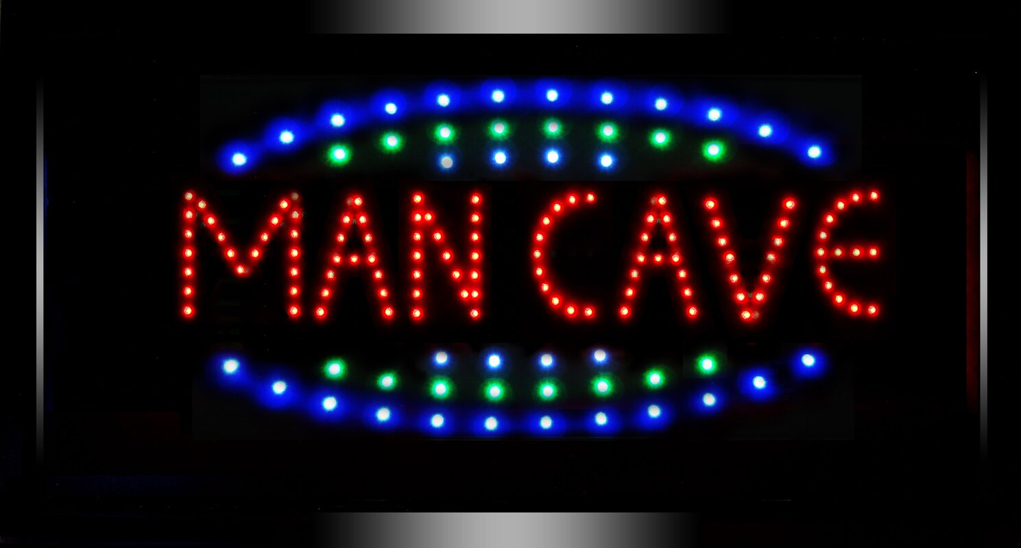 Man Cave Neon Light Signs : Cyrg framed man cave led marquee sign reviews wayfair