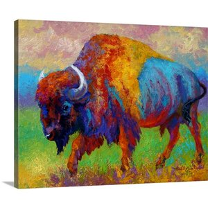 'Journey Unknown Bison' by Marion Rose Painting Print on Canvas by Canvas On Demand