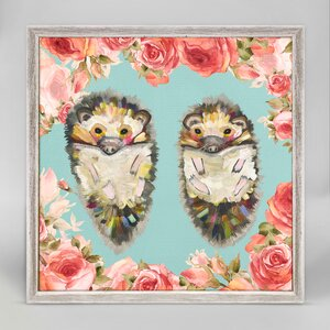 'Hedgehog Duo' Framed Print on Canvas by Harriet Bee