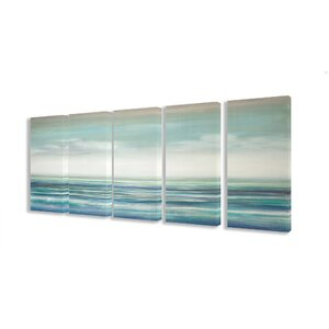 Blue Ocean Sunset 5 Piece Photographic Print on Stretched Canvas Set by Stupell Industries