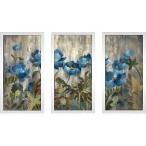 'Silver and Sapphire' Framed Acrylic Painting Print Multi-Piece Image on Glass by Winston Porter