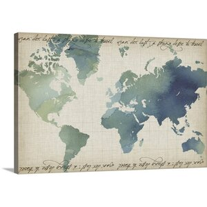 Watercolor World Map by Grace Popp Graphic Art on Canvas by Great Big Canvas
