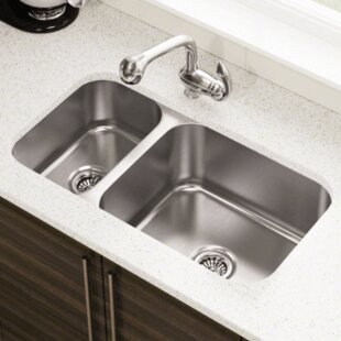 3225 l x 18 w offset double bowl undermount stainless steel kitchen sink - Undermount Stainless Steel Kitchen Sink