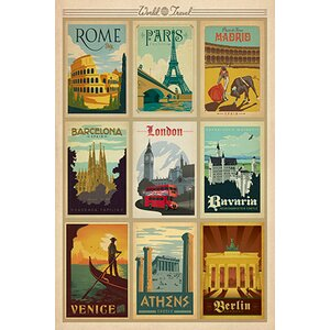 'World Travel Collection: European Cities Collage Vintage Advertisement by East Urban Home