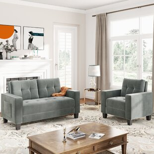 Sofa Set Morden Style Couch Furniture Upholstered Armchair, Loveseat And Three Seat For Home Or Office (1+2 Seat) by Everly Quinn