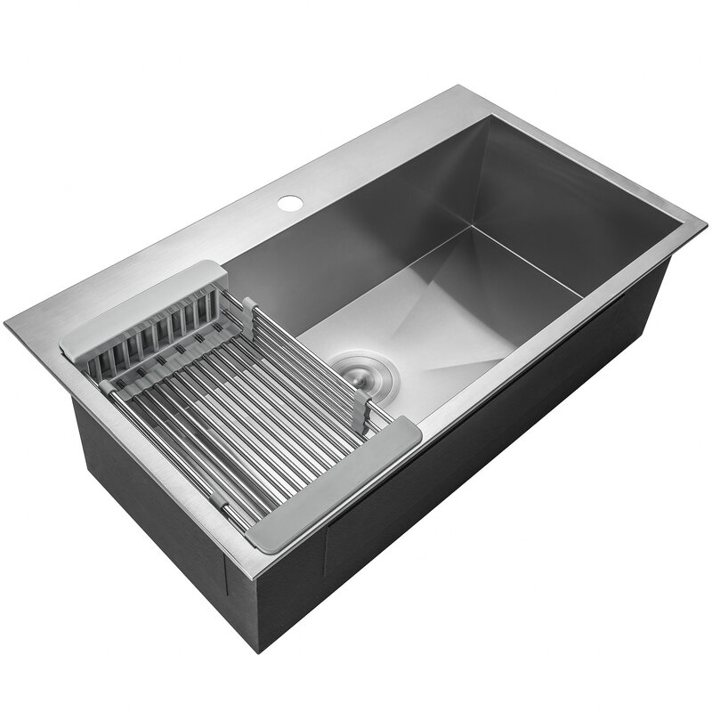 Akdy Handmade Stainless Steel Drop In Kitchen Sink With