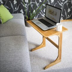 Barcley Sofa Side End Table C Shaped Table Laptop Holder End Stand Desk Coffee Tray Side Table Notebook Tablet Beside Bed Sofa Portable Workstation Over Bed Table Brown