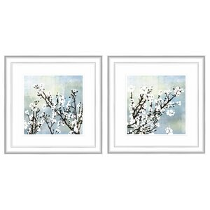 Cherry Blossoms 2 Piece Framed Graphic Art Set (Set of 2) by PTM Images