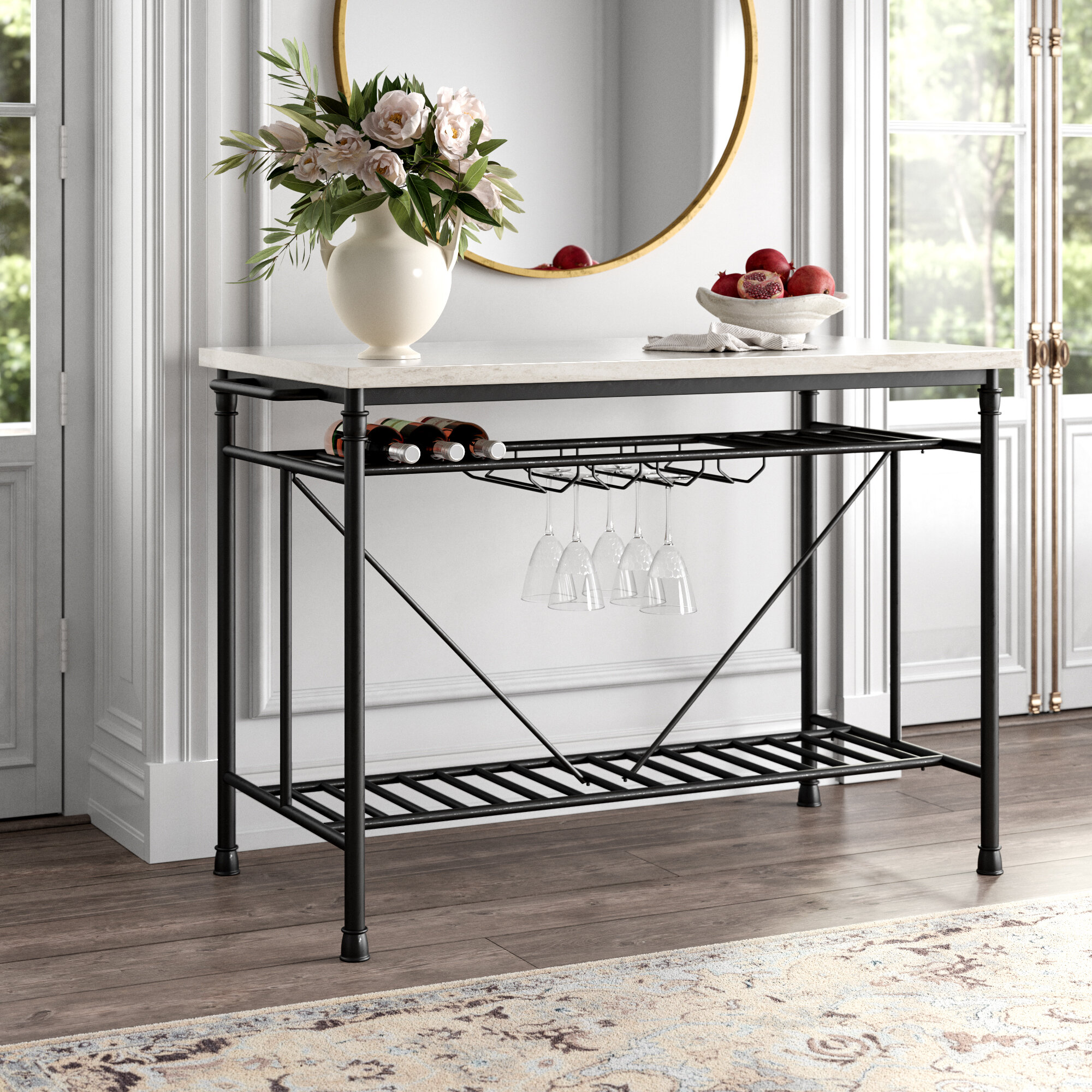 Kelly Clarkson Home Moran Kitchen Island With Marble Top Reviews