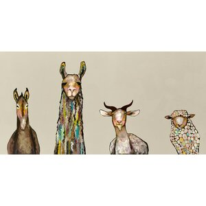 'Donkey, Llama, Goat, Sheep' by Eli Halpin Framed Print of Painting in Cream by GreenBox Art