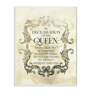 'By Declaration of the Queen' Textual Art Wall Plaque by Willa Arlo Interiors
