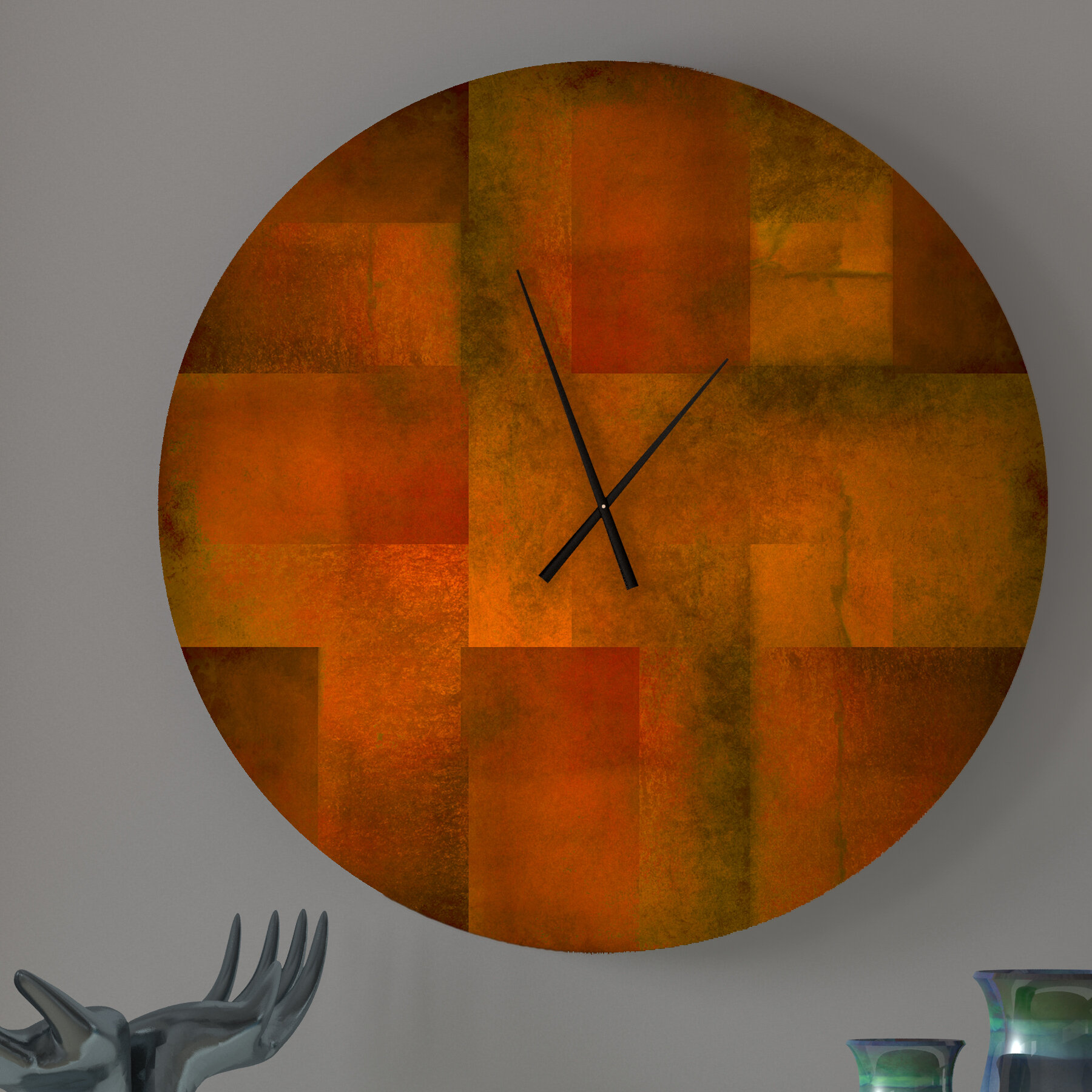 ABSTRACT ART Quartz Clock Black BRAND NEW and Ideal Gift