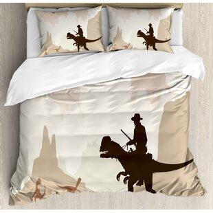 western cowboy riding a dinasour primedieval landscape fantastic prehistoric duvet set - Western Bedding