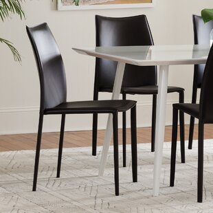 Jaymie Upholstered Dining Chair (Set of 4) & Genuine Leather Kitchen u0026 Dining Chairs Youu0027ll Love | Wayfair