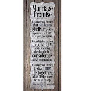 Marriage Promise New Horizons Textual Art Wood Plaque by Dexsa