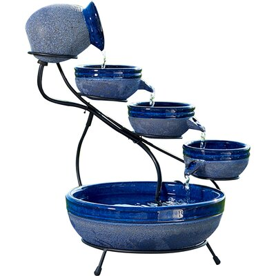 Ceramic Solar Cascade Fountain Finish: Blueberry