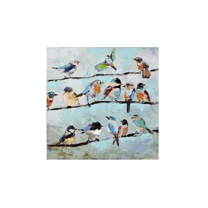 Birds on Line Painting Print on Canvas by GiftCraft