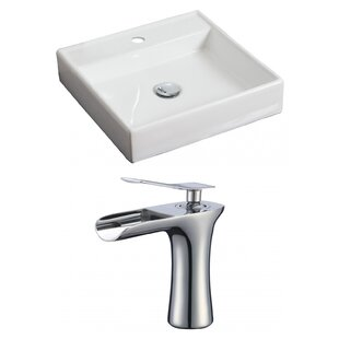 Big Save Ceramic Square Vessel Bathroom Sink with Faucet and Overflow ByAmerican Imaginations