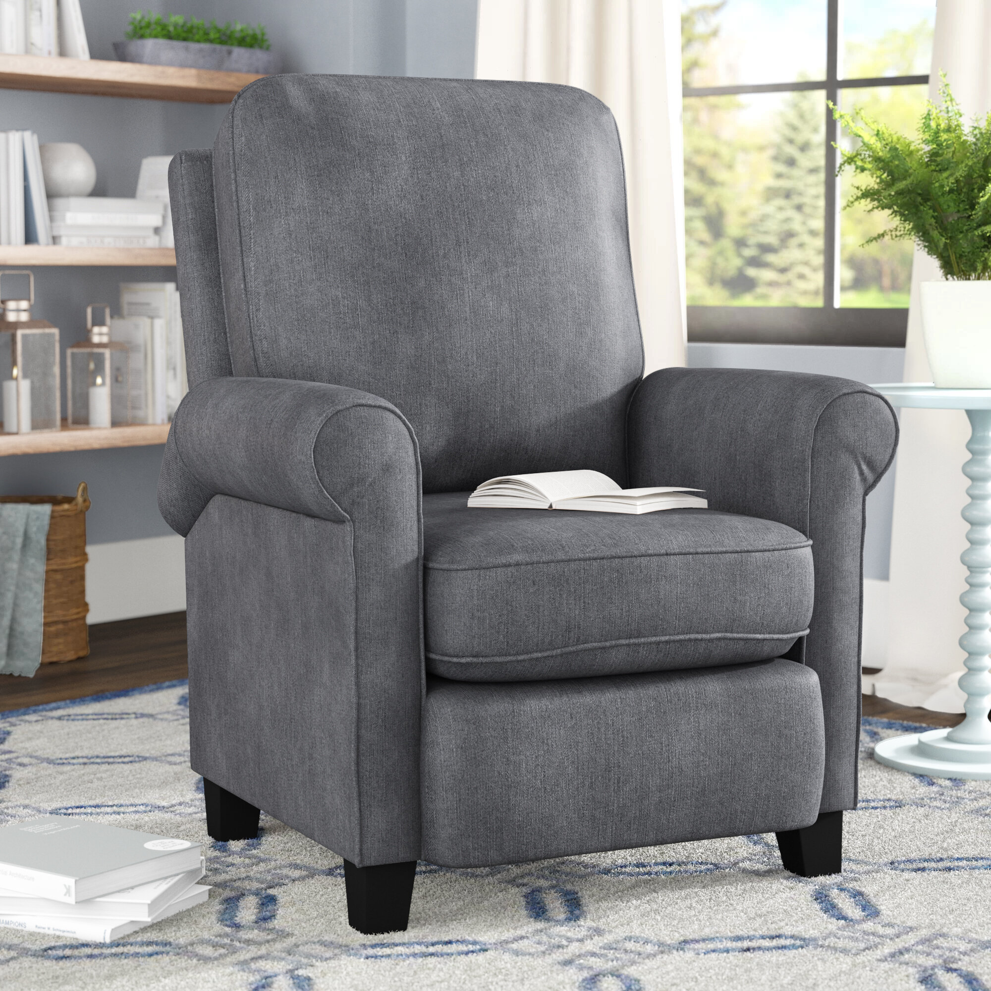 Bonzy Manual Recliner Modern Arm Push Back Chair With Roll Tight Armrest Seat Cushions Living Room Reclining Chair Blue Grey