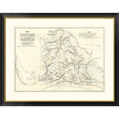 """Civil War Map of The Field of Shiloh, Near Pittsburgh Landing, Tennessee, 1862 by Otto H. Matz Framed Graphic Art Global Gallery Size: 36"""""""" H x 46"""""""" W x -  DPF-295148-36-296"""