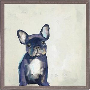 'Best Friend - Frenchie Pup' Framed Acrylic Painting Print on Canvas by Winston Porter