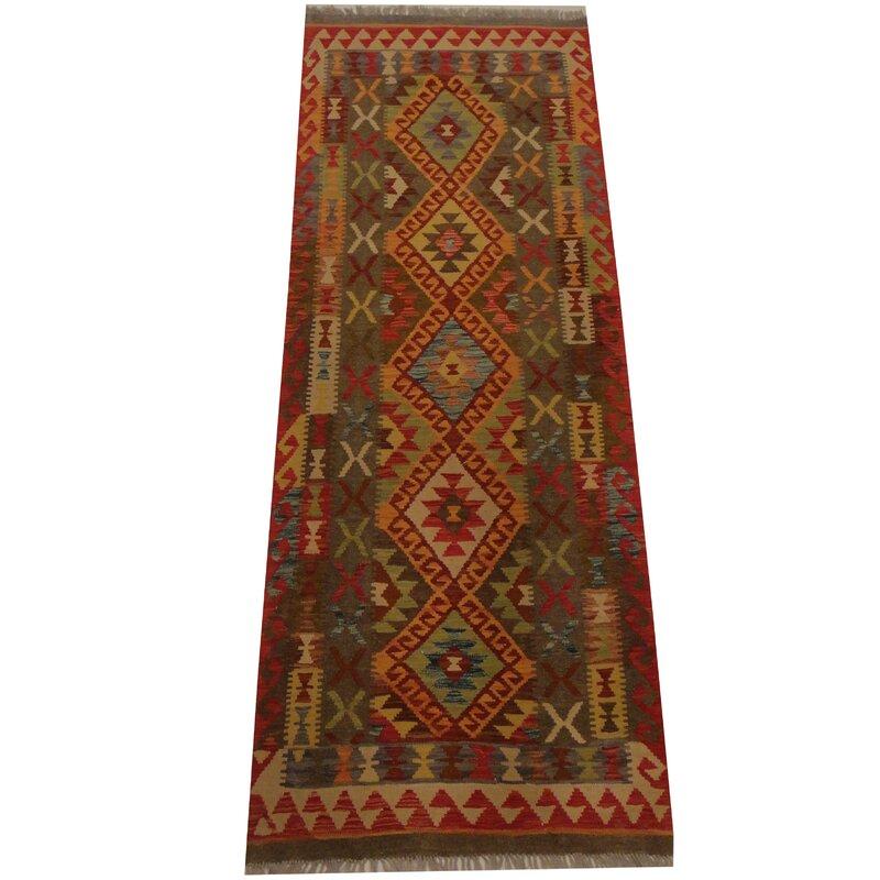 Herat Oriental Kilim Tribal Hand Woven Wool Light Green Red Area