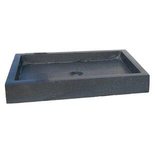 Inexpensive Honed Basalt Rectangular Vessel Bathroom Sink ByEden Bath