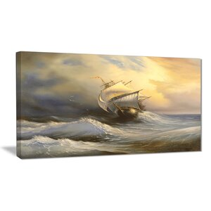 Vessel in Stormy Sea Seascape Painting Print on Wrapped Canvas by Design Art