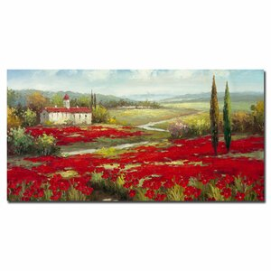 Field of Poppies by Rio Painting Print on Canvas by Trademark Fine Art