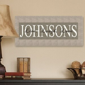 Personalized Gift Live, Laugh, Love Textual Art on Canvas in Bold Grey by JDS Personalized Gifts
