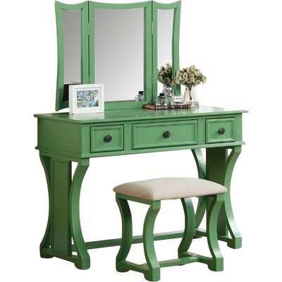Adelynnline Vanity Set with Mirror Color: Green by Winston Porter