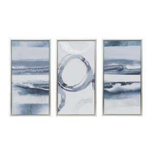 'Gray Surrounding' 3 Piece Frame Print Set on Wood by Mercury Row