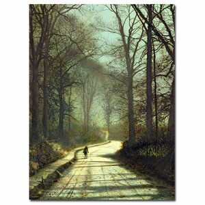 Moonlight Walk by John Atkinson Grimshaw Painting Print on Wrapped Canvas by Trademark Fine Art