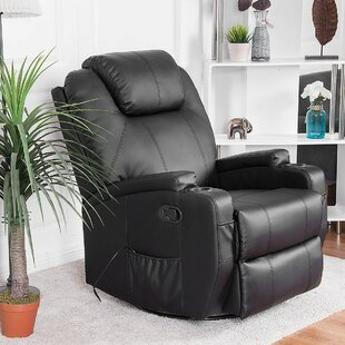 Leather Reclining Massage Chair Red Barrel Studio